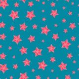 与红色星的圣诞节无缝的样式 免版税库存照片