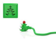 与红色星(假日概念)的圣诞树 免版税图库摄影