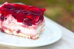与红色果冻的甜蛋糕 库存图片