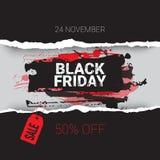 与红色标记横幅购物折扣概念的黑星期五被撕毁的弯曲的被包裹的纸11月24日销售 库存照片