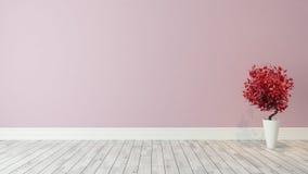 与红色植物的桃红色墙壁背景装饰的 库存照片