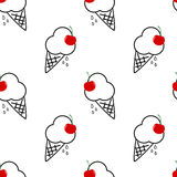 与红色樱桃无缝的样式背景例证的黑白冰淇凌 免版税库存图片