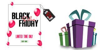 与红色气球的黑星期五销售海报在白色背景的方形的框架和折扣标记附近 例证 配件箱礼品查出的白色 库存例证