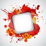 与红色污点的现代白色框架 库存照片