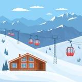 与红色滑雪客舱推力的滑雪场在空中览绳、房子、瑞士山中的牧人小屋、冬天山风景、多雪的山峰和倾斜 库存例证