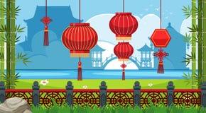 与红色灯笼的中国题材背景 库存例证