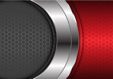 与红色灰色六角形样式设计现代豪华未来派背景传染媒介的抽象银色曲线中心 库存例证