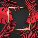 与红色热带叶子的纸被削减的金框架 两个在别的金黄倾斜的方形的框架谎言一 传染媒介卡片 向量例证
