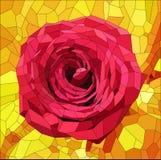 与红色玫瑰的彩色玻璃在橙色和黄色背景 库存图片