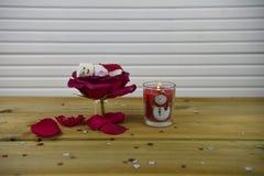 与红色玫瑰花的浪漫冬天季节摄影图象在一个小瓶子和蛋白软糖雪人和里面被点燃的蜡烛 免版税库存照片