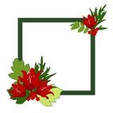 与红色百合的装饰方形的边界和装饰叶子 库存图片
