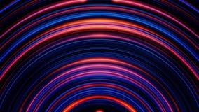 与红色的动画和移动和淡光在有霓虹灯的隧道的蓝色圈子的抽象背景 五颜六色 皇族释放例证