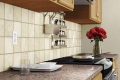 与红色的厨房内部特写镜头 免版税图库摄影