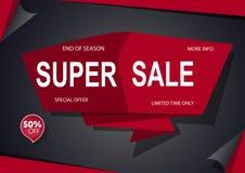 与红色的超级销售横幅黑色 免版税库存图片