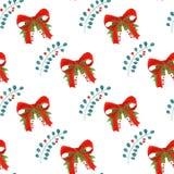 与红色的水彩样式鞠躬,霍莉叶子和莓果 无缝背景的节假日 免版税库存照片
