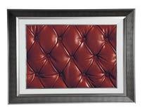 与红色皮革的照片框架 免版税库存图片