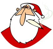 与红色眼睛的扔石头的圣诞老人 免版税库存图片