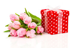 与红色短上衣小点礼物盒的美丽的郁金香 免版税库存图片