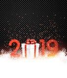 与红色礼物盒的黑发光的2019新年背景 皇族释放例证