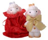 与红色礼物袋子的两只山羊 免版税库存照片