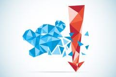 与红色箭头、股市和企业概念的多角形熊标志 向量例证