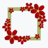 与红色纸花的装饰绿色papercut边界 3D pape 免版税库存照片