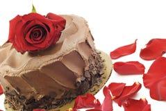 与红色罗斯的巧克力蛋糕 免版税库存图片