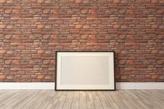 与红色自然砖墙, backgrou的黑画框装饰 库存图片
