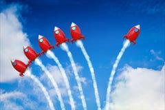 与红色航天飞机发射的领导概念 免版税库存图片