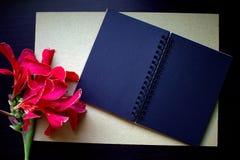 与红色花、工艺纸和黑纸笔记本的平的位置构成 免版税图库摄影