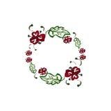 与红色花和绿色叶子的水彩框架 免版税库存图片