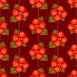 与红色花的传染媒介葡萄酒无缝的样式 免版税库存图片