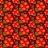 与红色花的传染媒介葡萄酒无缝的样式 库存照片