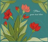 与红色花的向量背景 库存照片