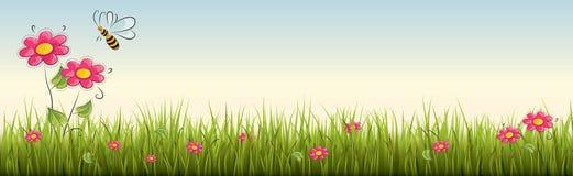 与红色花的新鲜的现实绿草-导航例证 库存图片