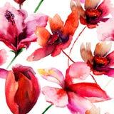 与红色花的无缝的墙纸 免版税库存照片