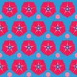 与红色花的无缝的样式背景,五颜六色的例证 皇族释放例证