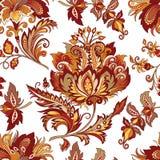 与红色花的无缝的葡萄酒装饰品 免版税图库摄影