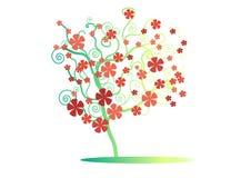 与红色花的样式绿色树在白色背景,传染媒介,例证,图象 免版税库存图片