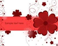 与红色花的美好的抽象背景 图库摄影