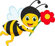 与红色花的逗人喜爱的蜂动画片 免版税库存照片