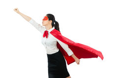 与红色英雄衣物的女商人飞行 库存图片