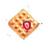 与红色草莓水彩例证的比利时华夫饼干 库存图片