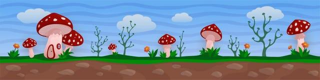 与红色蘑菇村庄的滑稽的幻想风景 向量例证