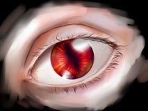 与红色虹膜的妖怪眼睛 免版税库存照片