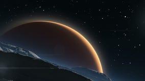 与红色行星火星的Deimos在背景中 向量例证