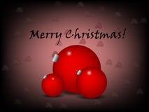 与红色装饰品的圣诞节问候 免版税图库摄影