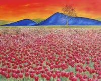 与红色郁金香域的日落。 油画。 艺术 免版税库存图片