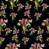 与红色郁金香抽象花的无缝的样式在黑色 库存照片