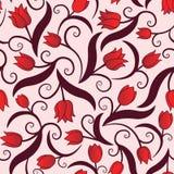 与红色郁金香的无缝的样式 免版税库存照片